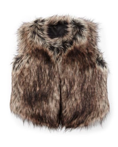 Faux-Fur Vest, Black/Tan