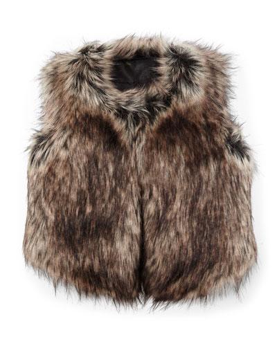 Faux-Fur Vest, Black/Tan