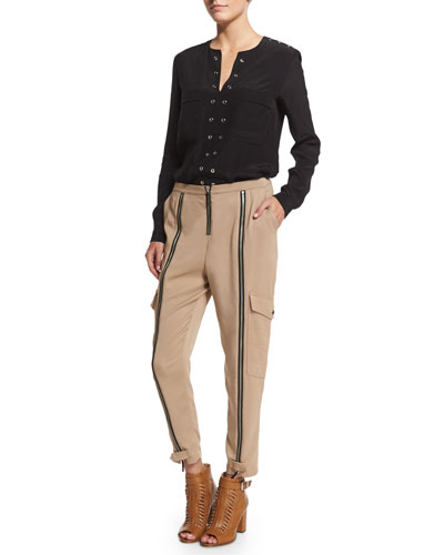 Belstaff Grommet-Trim Tunic Blouse & Mid-Rise Easy Cropped