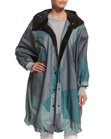 BelstaffOversize Camouflage-Print Hooded Coat, Spring Green