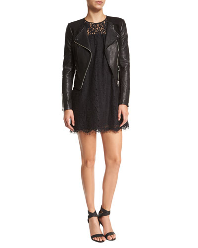 Iridessa Asymmetrical-Zip Leather Jacket & Fahfia Lace Sheath Mini Dress