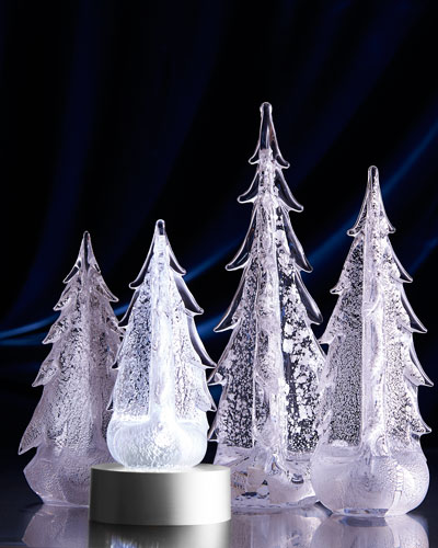 Silver-Leaf Evergreen Trees & LED Lighted Base