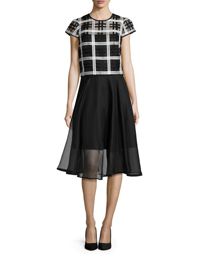 Plaid Organza Cap-Sleeve Top & Silk Organza Circle Skirt