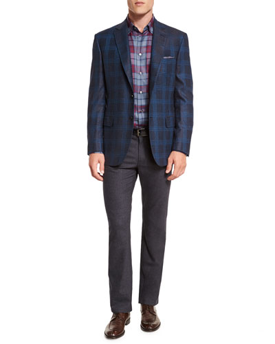 Plaid Two-Button Jacket, Tartan Plaid Long-Sleeve Sport Shirt & Five-Pocket Cashmere-Blend Trousers