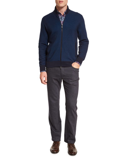 Birdseye Cashmere-Blend Full-Zip Jacket, Tartan Plaid Long-Sleeve Sport Shirt & Five-Pocket Cashmere-Blend Trousers
