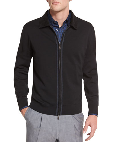 Full-Zip Jacket with Suede Trim & Tonal Plaid Long-Sleeve Sport Shirt