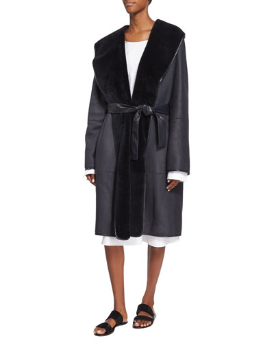Hooded Lamb Shearling Fur Robe Coat & Sabina Long-Sleeve Belted Shirtdress