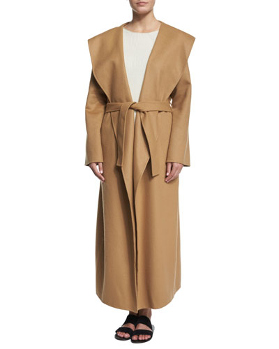 Muna Belted Long Robe Coat, Aven Long-Sleeve Ribbed Sweater & Straight-Leg Cropped Pants