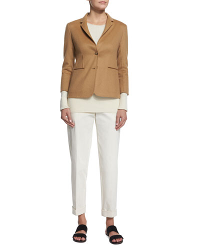 Button-Front Fitted Jacket, Aven Long-Sleeve Ribbed Sweater & Straight-Leg Cropped Pants
