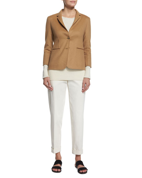 THE ROW Button-Front Fitted Jacket, Camel