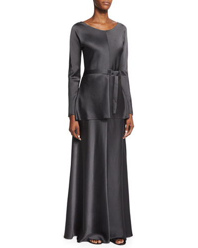 Isa Long-Sleeve Belted Top & Afrol A-Line Long Skirt