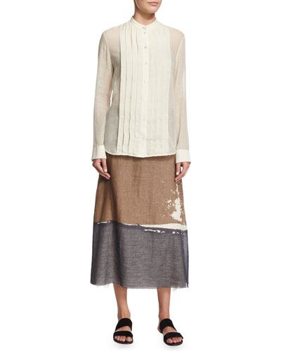 Soraya Pleated-Front Shirt & Loria Screen-Print Colorblock Skirt