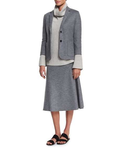 THE ROW Naven Two-Button Jacket, Medium Gray Melange