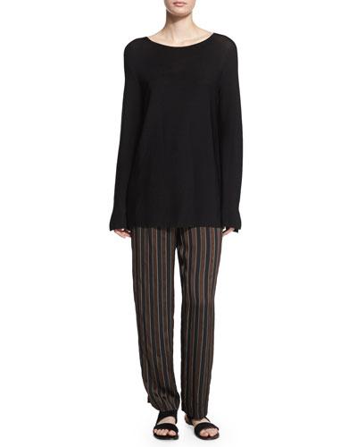 Rarla Long-Sleeve Sweater & Sala Pleated-Front Striped Pants
