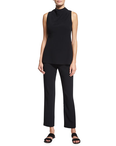 Piona Sleeveless Tie-Neck Top & Straight-Leg Cady Ankle Pants