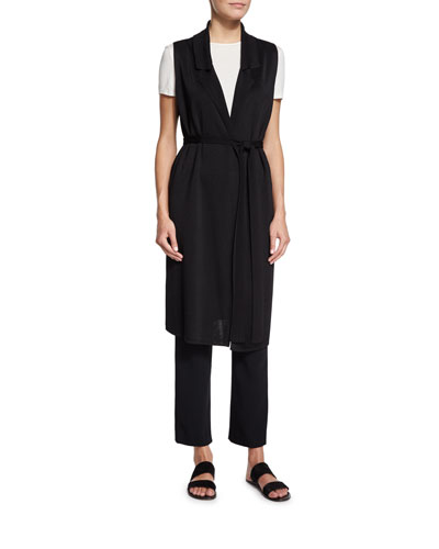 Belted Long Tunic Vest, Kamil Short-Sleeve Ribbed Top & Straight-Leg Cady Ankle Pants