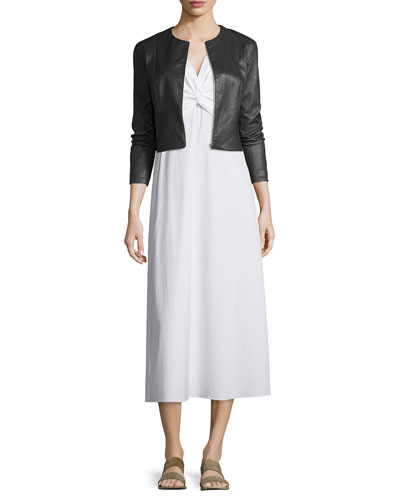 Stanta Leather Cropped Zip Jacket & Sleeveless Twist-Front Midi Dress