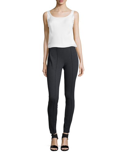 Charmeuse Silk Bias Tank & Pintucked Skinny Pants, Women