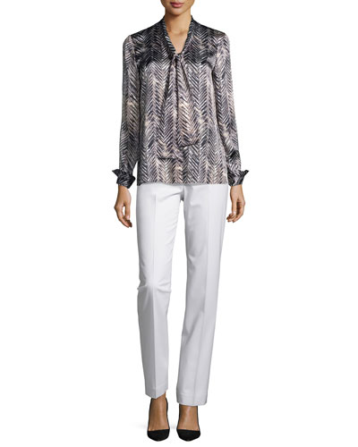 Ardelle Herringbone-Print Blouse & Barrow Straight-Leg Pants, Women