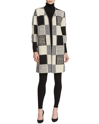 Checkered Jacquard Long Cardigan, Fine-Gauge Merino Turtleneck & Punto Milano Leggings, Women