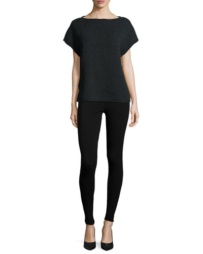 Short-Sleeve Popcorn-Stitch Sweater & Punto Milano Leggings, Women