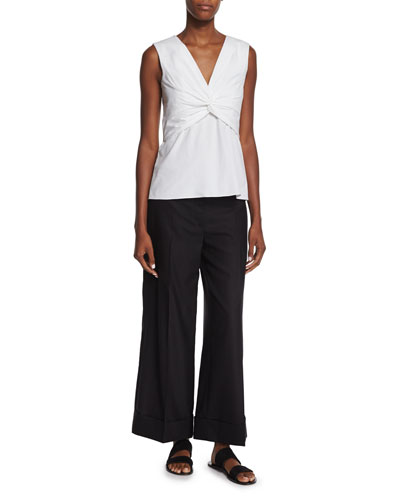 Tiani Sleeveless Twist-Front Top & Textured Wide-Leg Cuffed Pants