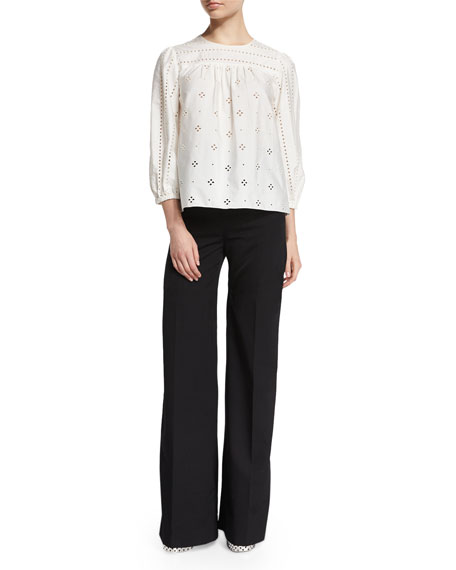 Marc Jacobs 3/4-Sleeve Eyelet Tunic Blouse, White
