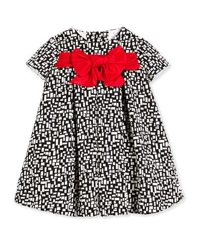 Helena Short-Sleeve Pleated Grid-Print Dress, Black/White