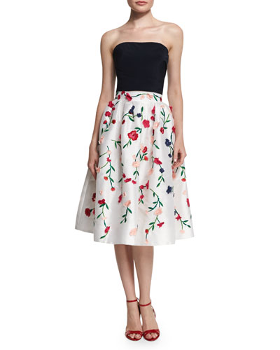Pleated Strapless Crop Top & Floral-Embroidered A-Line Skirt