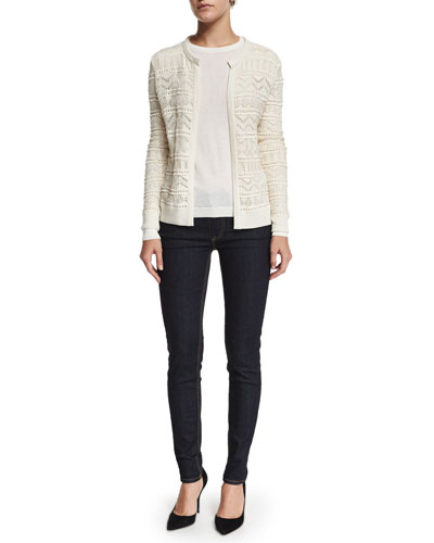 Long-Sleeve Open-Front Cardigan, Long-Sleeve Cashmere T-Shirt & Mid-Rise Matchstick Jeans