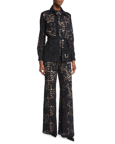 Tim Belted Lace Jacket & Rene Halter-Neck Lace Jumpsuit