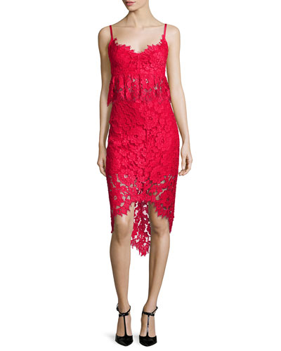 Vivian Sleeveless Lace Top & Wendy Lace High-Low Pencil Skirt, Red