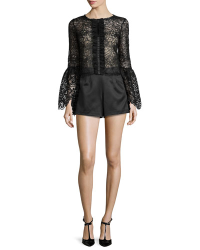 Mark Long-Sleeve Lace Top & Sandy High-Waist Shorts W/Frayed-Trim