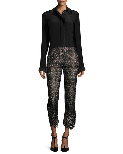 Mariela Frayed-Trim Blouse & Alis Lace Slim-Leg Cropped Pants