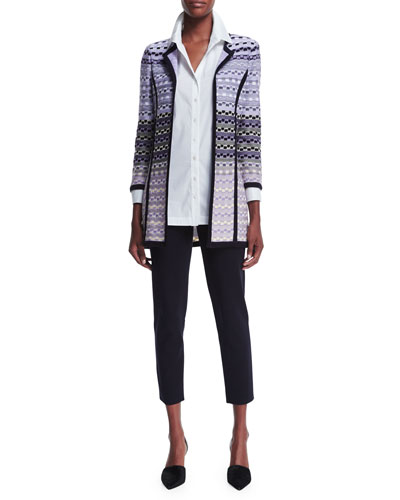 Patterned Long Jacket, Long-Sleeve Button-Front Shirt & Slim Cropped Ankle Pants