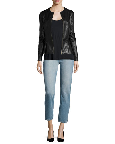 Anasta Zip-Front Leather Jacket, Thomaston Scoop-Neck Tank & Ashland Slim-Leg Ankle Jeans