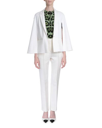 Cape-Sleeve One-Button Jacket, Animal-Print Kimono-Sleeve Blouse & Reversible-Seam Skinny-Leg Trousers