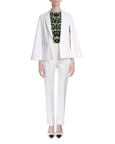 Givenchy Cape-Sleeve One-Button Jacket, White