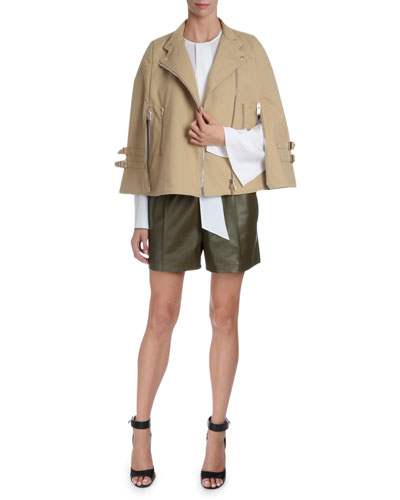 Moto Cape Jacket, Tie-Neck Cape-Sleeve Blouse & Mid-Rise Leather Shorts