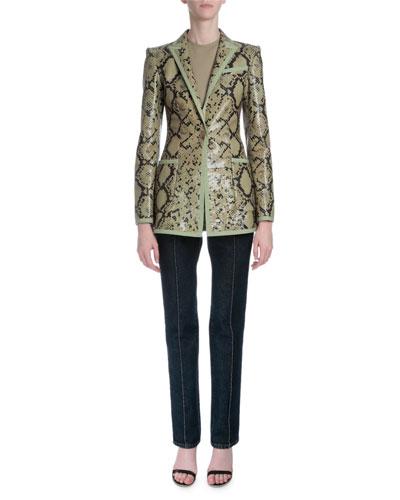 Snake-Embossed Leather Jacket, Sleeveless Side-Ruching Tee & High-Waist Slim-Leg Jeans
