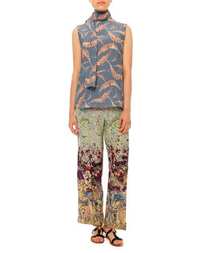 Sleeveless Bird-Print Tie-Neck Blouse & Landscape-Print Pajama-Style Pants