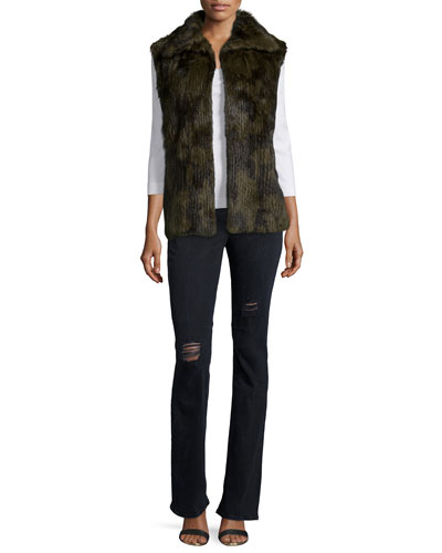 Janis Fur Vest & Jackson Distressed Boot-Cut Jeans