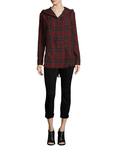 Parker Long-Sleeve Plaid Hoodie & Ryder Obsidian Repair Cropped Skinny Jeans