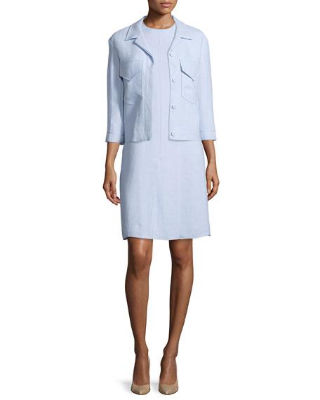 Nina Ricci 3/4-Sleeve Button-Front Jacket, Oxford Blue