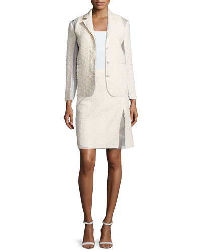 Nina Ricci Textured Combo Jacket & Faux-Wrap Pencil