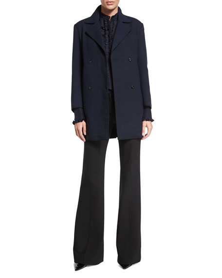 Nina Ricci Double-Breasted Long-Sleeve Coat, Dark Navy