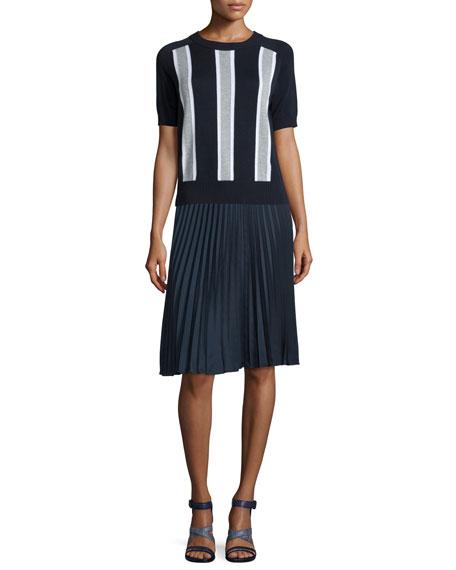 MICHAEL Michael Kors Short-Sleeve Colorblock Striped Sweater, New