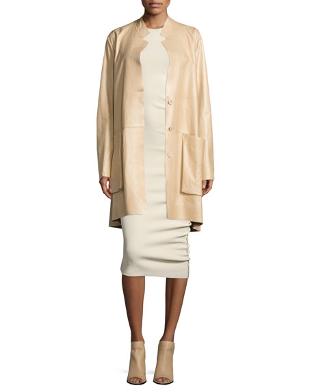 Donna Karan Trapeze Leather Coat W/Pockets, Pongee