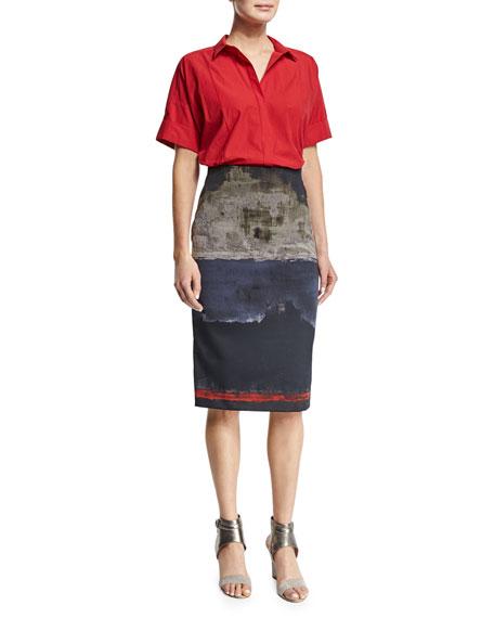 Donna Karan Short-Sleeve Camp Shirt, Lacquer