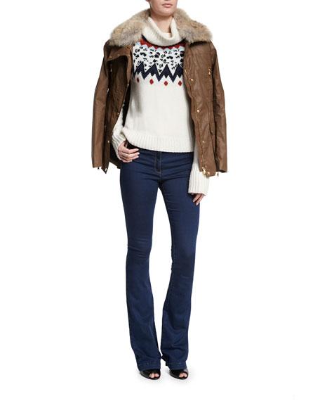 Veronica Beard Fur-Collar Patch Pocket Coat, Mocha